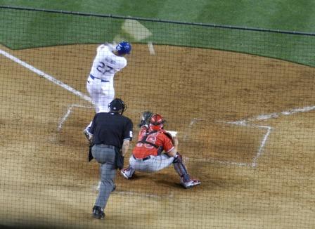 From 2012's Spring Training Freeway Series games: Matt Kemp swings at a nasty Angels pitch and misses with Hank Conger catching...oh how I hope the Angels starting rotation can deliver this season!! Angels at Dodgers, April 3, 2012. Photo by This is a very simple game...