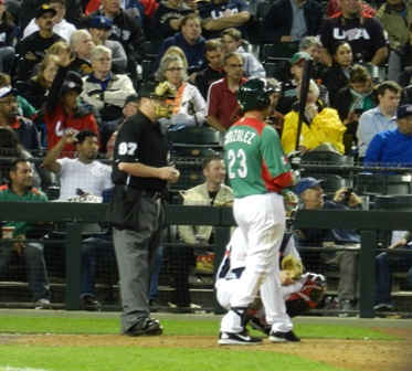 Adrian Gonzalez went one for two and that one...well, it was a monster. World Baseball Classic, USA vs. Mexico, March 8, 2013. Photo by This is a very simple game...
