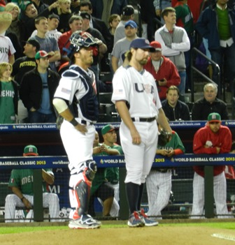So, is it a homerun or not? (J.P. Arencibia and R.A. Dickey) World Baseball Classic, USA vs. Mexico, March 8, 2013. Photo by This is a very simple game...