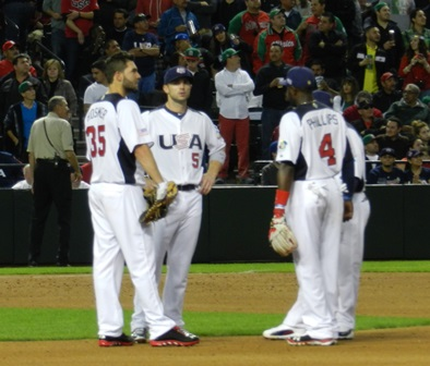 I don't know. Is it a homerun? (Eric Hosmer, David Wright, Brandon Phillips and Jimmy Rollins) World Baseball Classic, USA vs. Mexico, March 8, 2013. Photo by This is a very simple game...