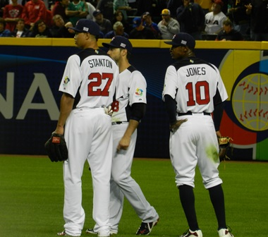 Rats -- or something like that -- sadly the umps confirm it's a homerun. (Giancarlo Stanton, Ryan Braun and Adam Joes) World Baseball Classic, USA vs. Mexico, March 8, 2013. Photo by This is a very simple game...