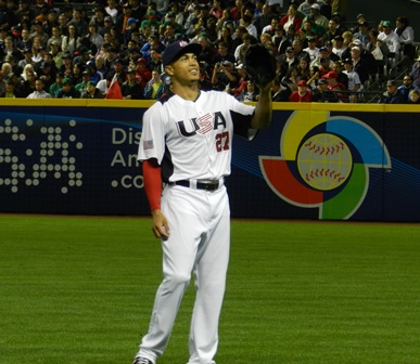 Giancarlo Stanton warms up in right field right in front of our seats. World Baseball Classic, USA vs. Mexico, March 8, 2013. Photo by This is a very simple game...