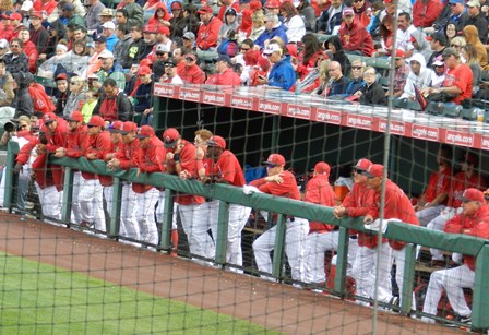 Players -- including a bare headed Kole Calhoun in the back -- hang out in the dugout in the rain during the Angels at bat. March 8, 2013, Angels vs. D-Backs at Tempe Diablo Stadium. Photo by This is a very simple game...