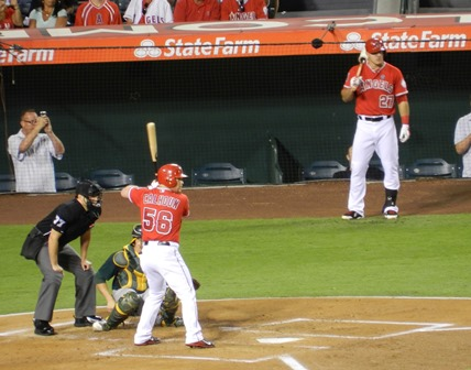 "Kole ""Lucky Ginger"" Calhoun takes a turn at the plate while Mike Trout waits on deck. I thoroughly enjoyed Kole's contributions to the team this year and hope him in the lineup with SuperTrout again next season. Angels vs. A's, September 23, 2013. Photo by This is a very simple game..."