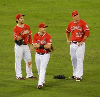 During a pitching change, former FanCave Dweller and all around Angels Superfan Ricardo Marquez riveted the eye of the dance cam with his rally moves. Here we see our dynamic trio's (Collin Cowgill, Mike Trout and Kole Calhoun) priceless reaction. Angels vs. A's, September 23, 2013. Photo by This is a very simple game...