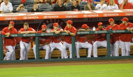 While everyone else goofs around and Jerome Williams in particular is shocked, shocked I tell you over whatever hijinks are abounding, Mark Trumbo is having none of their shenanigans, thank you very much. Angels vs. A's, September 23, 2013. Photo by This is a very simple game...